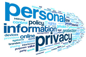 stock photo of personal safety  - Personal privacy in word tag cloud on white background - JPG