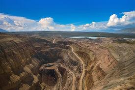 stock photo of open-pit mine  - Massive diamond open mine in the north of Russia  - JPG