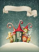Fantasy colorful houses in winter and banner