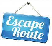escape route emergency exit avoid stress and break free running away to safety no rat race