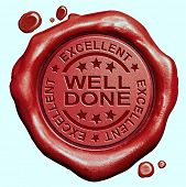 stock photo of job well done  - well done excellent job or great work congratulations red wax seal stamp  - JPG