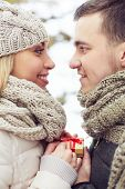 Romantic date of two lovers in winter