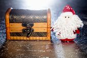 Santa Claus With Wooden Chest