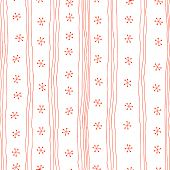 Seamless pattern. Simple ornament with lines and snowflakes