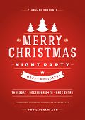 Christmas night party poster or flyer vector illustration. Merry christmas design template vector background.