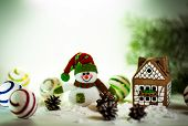 image of gingerbread house  - gingerbread house over and lovely handmade snowman - JPG
