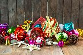Christmas garland on rustic wooden background with copy space
