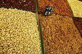 fresh nut heap ready to eat on market