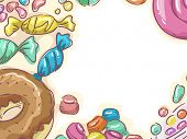 Frame Illustration Featuring a Variety of Candies and Other Sweets