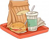 Illustration Featuring Common Fast Food Snacks on Tray