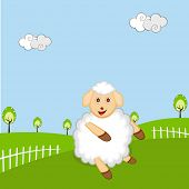 Year of the sheep 2015, New year celebrations greeting card design with cute cartoon of a sheep on nature view background.