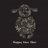 Floral decorated cartoon of a sheep with stylish text Happy New Year on black background.