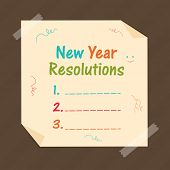 Stylish paper with blank list for Happy New Year resolutions on brown background.