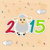 Year of the sheep 2015, New year celebrations greeting card design with colorful text and sheep on stylish background.