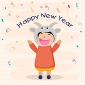 Cute little girl wearing sheep mask with text Happy New Year on ribbon decorated background.