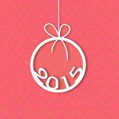 Happy New Year celebration with stylish text 2015 in X-mas ball on beautiful pink background.