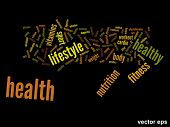 Vector eps concept or conceptual abstract health word cloud or wordcloud on black background