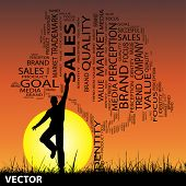 Vector concept or conceptual black media or business tree and grass word cloud, a man jumping on sunset with sun background