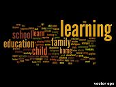 Vector concept or conceptual learning or education abstract word cloud on black background