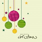 Merry Christmas celebration greeting card decorated with colorful hanging X-mas ball and stars.