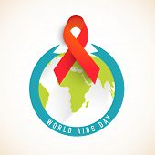 World Aids Day concept with red aids awareness ribbon and globe, can be used as badge, sticker or label.