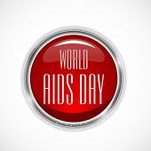 World Aids Day awareness concept with stylish text on glossy red icon.