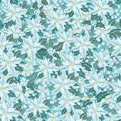 White poinsettia.Christmas seamless pattern, background
