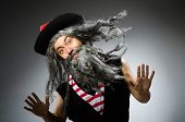 stock photo of hirsutes  - Funny pirate with long beard - JPG