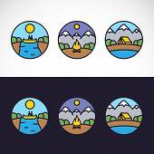 Outdoor Sports Landscape Nature Logo Template Set