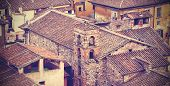 Vintage Style Postcard Of Lucca Roofs, Italy.