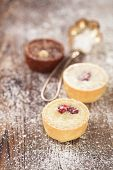 Chocolate dark and white Mini Tartlets in rustic style on wooden sugar dusted table, shallow dof