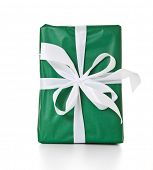 Single fine wrapped present. All on white background.