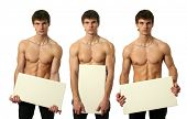 Three young sexy man holding copy space blank signs isolated on white