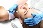 Removal of scars, man to a beautician, Microdermabrasion