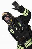 Firefighter In Breathing Apparatus Gestures Ok