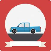 Pickup truck icon with round frame