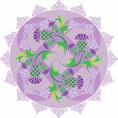 Celtic Symbols Ornament With Flowers Thistle And Celtic Knots.eps