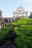 Tourists Visit The Historic Centre Of Ruined Church Of St Paul Macau, China.