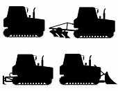 Set Icons Caterpillar Tractors Black Silhouette Vector Illustration