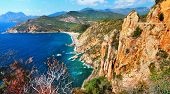 impressive landscapes of Corsica - red rocks Calanques