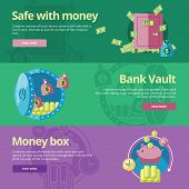 pic of vault  - Set of flat design concepts for safe and money - JPG