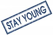 Stay Young Blue Square Stamp Isolated On White Background