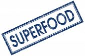 Superfood Blue Square Stamp Isolated On White Background