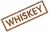 Whiskey Brown Square Stamp Isolated On White Background