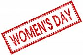 Womens Day Red Square Stamp Isolated On White Background