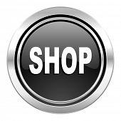 shop icon, black chrome button