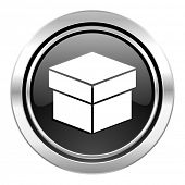 box icon, black chrome button