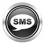sms icon, black chrome button, message sign