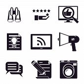 information and media web icons set