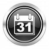 calendar icon, black chrome button, organizer sign, agenda symbol